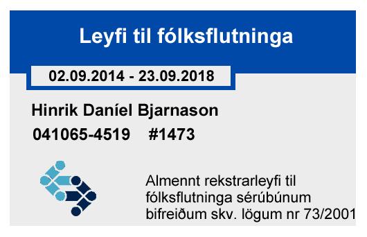 Hinrik D. Bjarnason license certificate